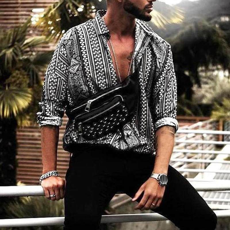 INCERUN Casual Shirt Men Print Long Sleeve Ethnic Style Fashion Tropical Men Beach Hawaiian Shirt Loose Brand Shirts Camisa 2020