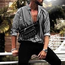 INCERUN Casual Shirt Men Print Long Sleeve Ethnic Style Fashion Tropical Men Bea