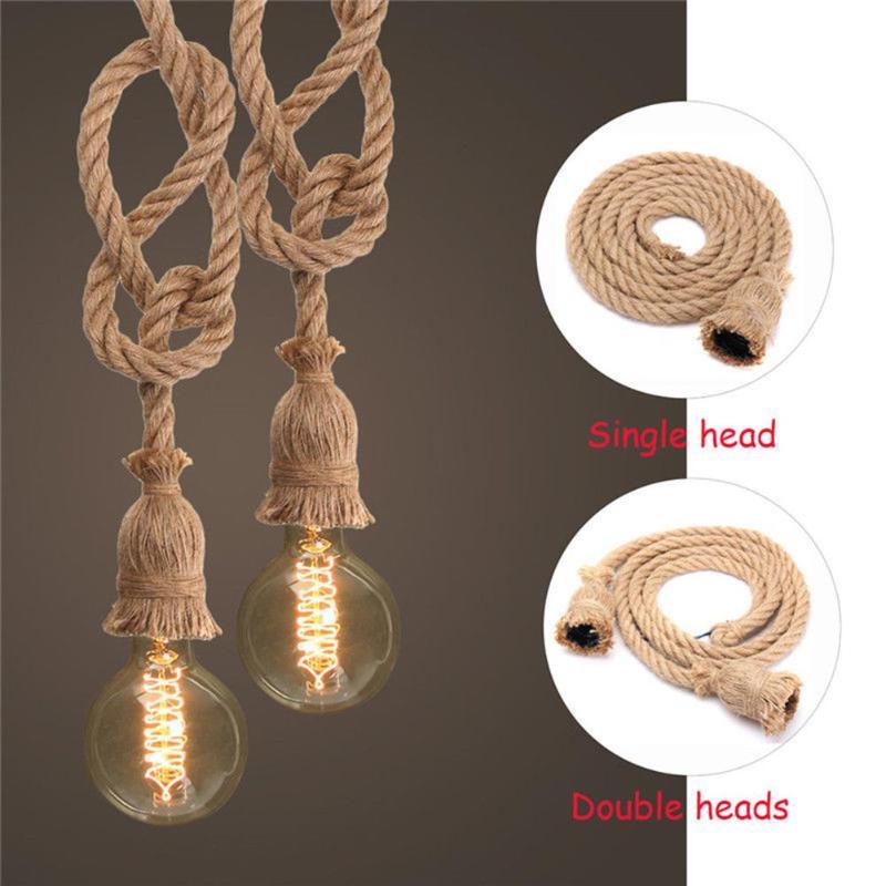 Vintage Hemp Rope Electric Wire Cord DIY E27 Bulb Pendant