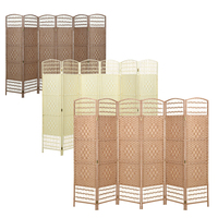 Panana Classical Folding Room Dividers Screen Partition 4/6 Panel Partition Brief Wicker Cutout Curtain Home Decoration