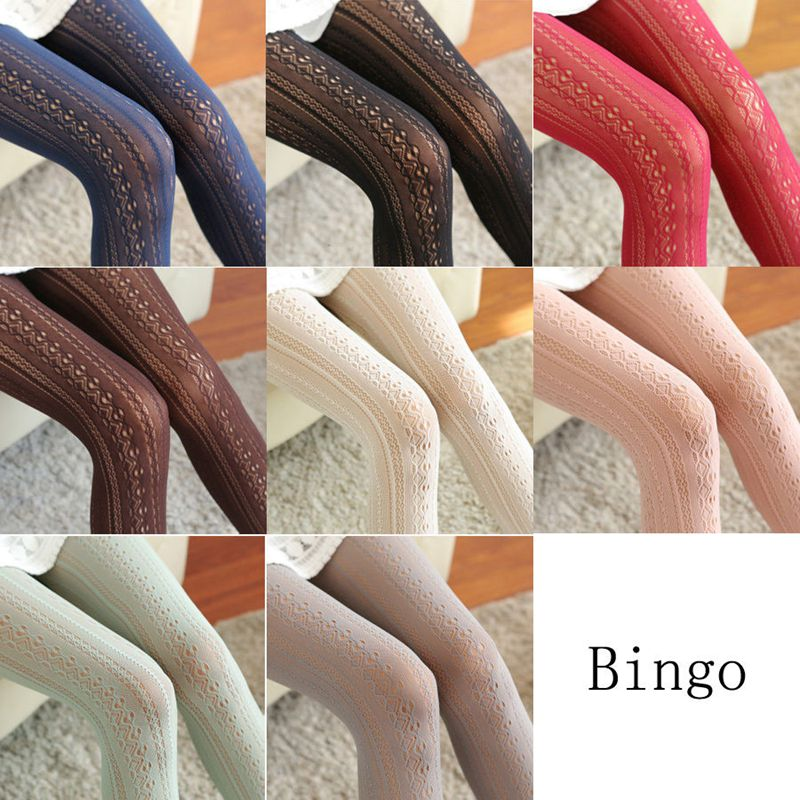 Hollow Out Floral Women Tights Lace See Through Thigh High Striped Stockings Sexy Lady Spring Autumn Thin Pantyhose Tights image