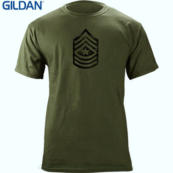Mens Hipster Short Sleeve Tee Tops Vintage Army E-9 Sergeant Major Rank Veteran T-shirt