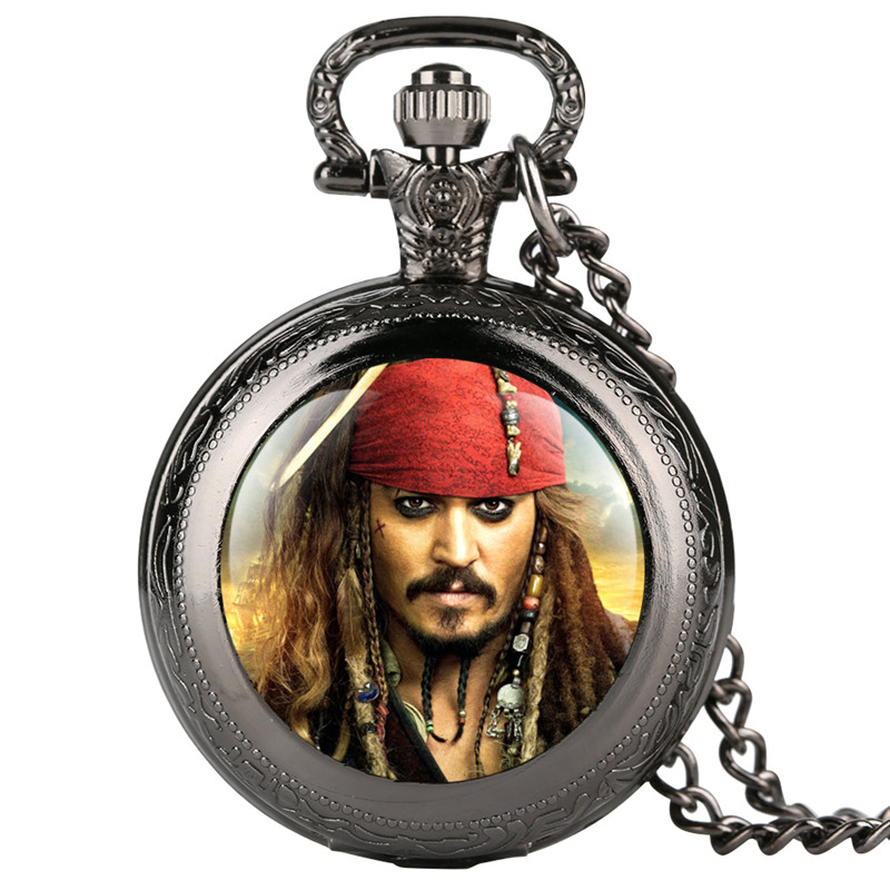 Clock Fashion Men's Pocket Watch Pirates Of The Caribbea Movie Theme Pocket Watches Quartz Movement Gift For Pocket Watch