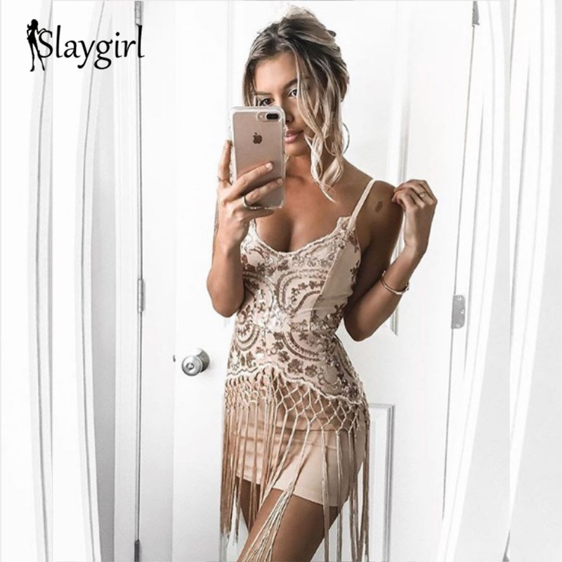 Slaygirl <font><b>Sexy</b></font> Sequin Mini Dress <font><b>Women</b></font> <font><b>Sexy</b></font> V Neck <font><b>2018</b></font> Dress <font><b>Elegant</b></font> Fringe Tassels <font><b>Fashion</b></font> <font><b>Bodycon</b></font> Dress Party Lady Vestidos image