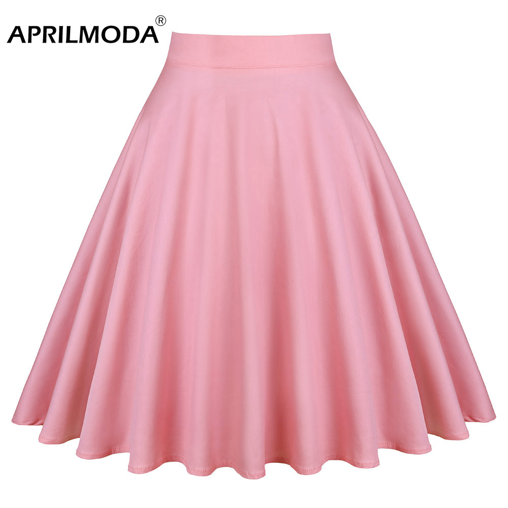 Womens 50s 60s Vintage Skirt High Waist Floral Skater Flared Pleated Skirt Plus Size Solid Color Pink 60s Retro Rockabilly Skirt