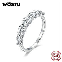 WOSTU 2019 Glacial Beauty Ring 925 Sterling Silver Dazzling Clear CZ Rings Finger For Women Wedding Engagement Jewelry CQR475(China)