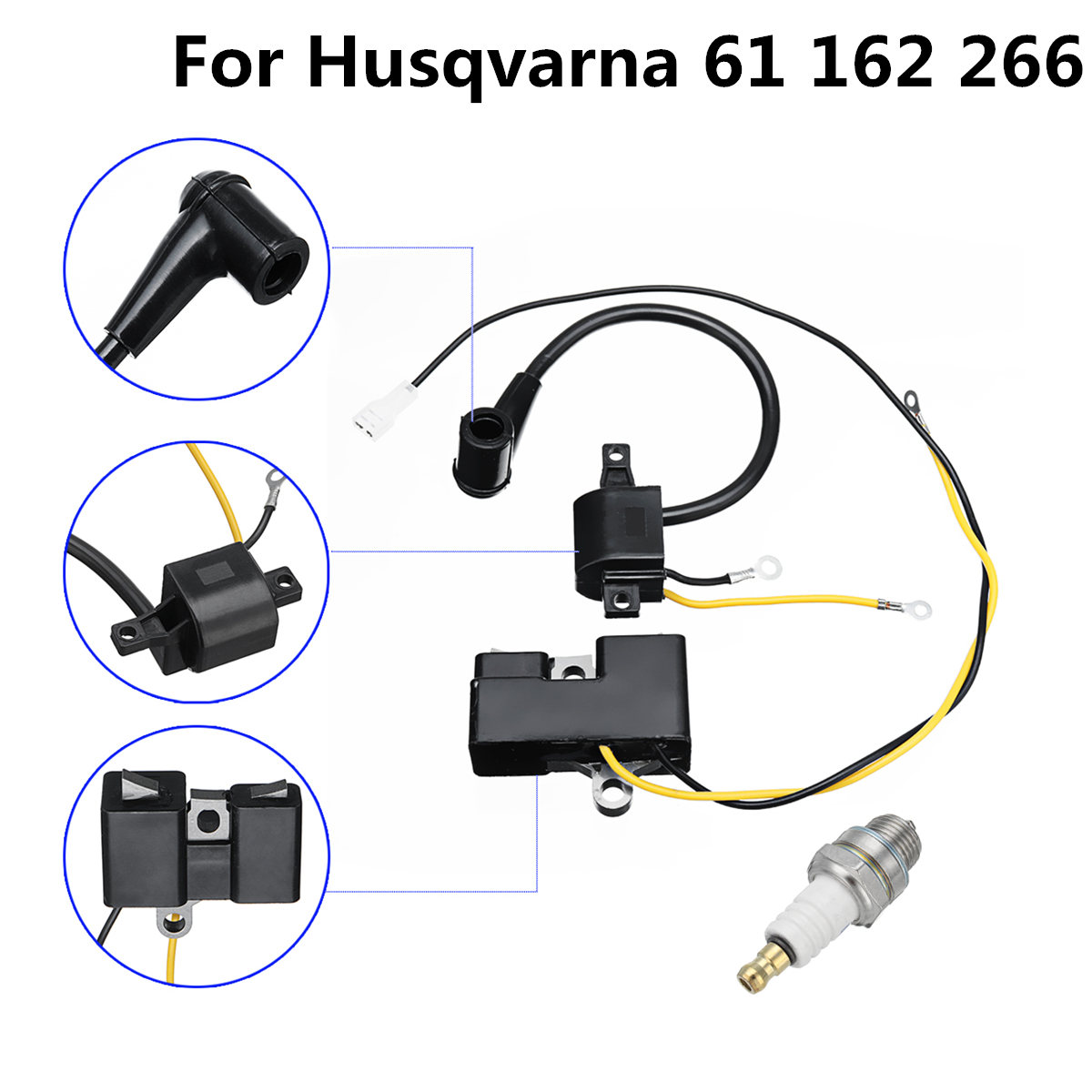 2 Parts Ignition Coil Spark Plug Set For Husqvarna 61 162 266 Jonsered 630 670 Chainsaw Old Type Ignition Coil Set