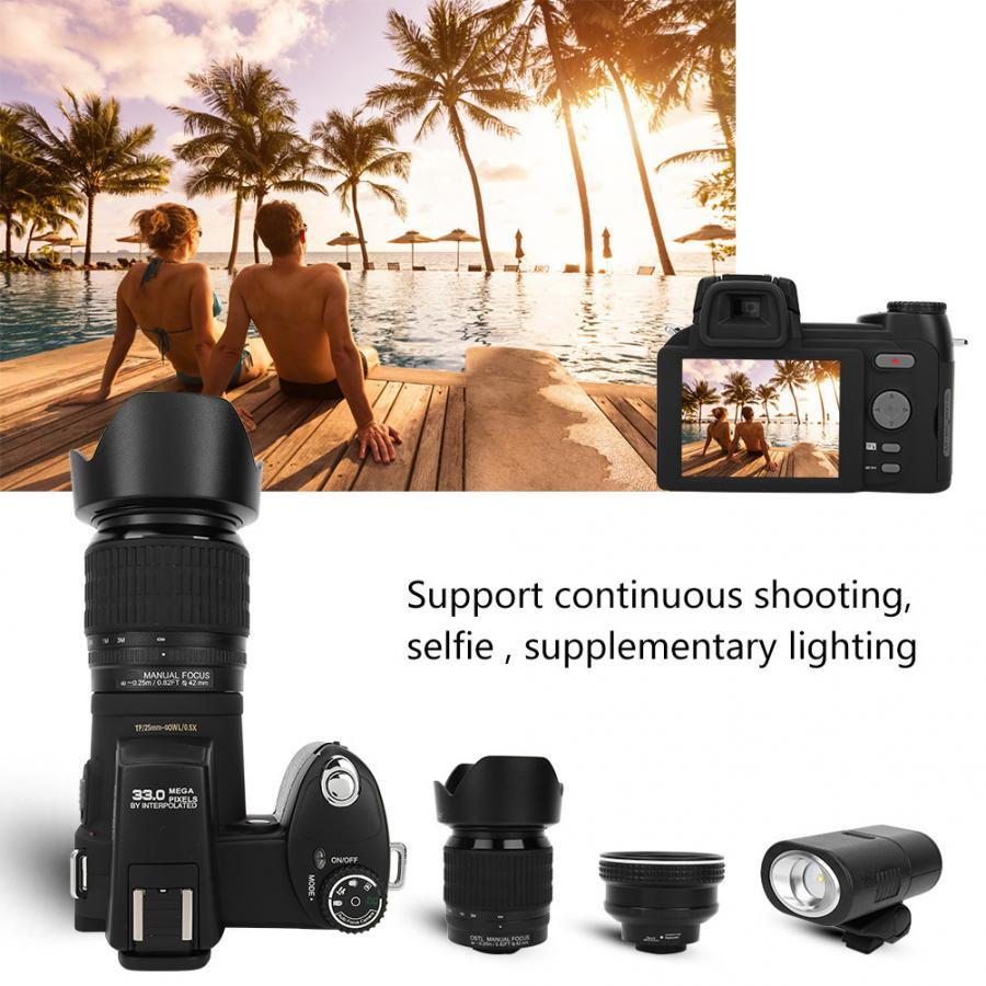 "D7200 33MP Digital Camera DSLR 0.5X Wide Angle Lens + 24X Telephoto Lens + LED Light 3.0"" TFT LCD display Full HD Camera"