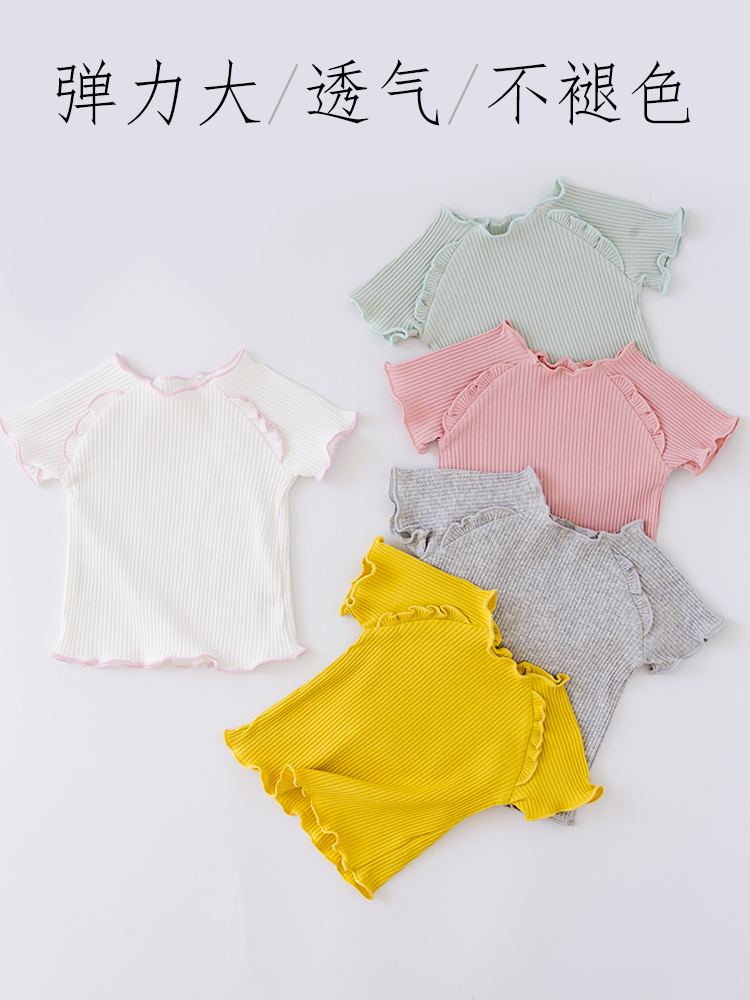 Baby T Pity Pure Cotton Short Sleeve Jacket Woman Baby Round Neck Jacket Girl Summer Wear Rendering in Tees from Mother Kids