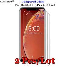 2 pçs/lote Para Oukitel C13Pro 9H 2.5D Premium de Vidro Temperado Film Protector de Ecrã Para Oukitel C13 Pro 6.18