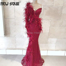Robe De Soiree Feathers Evening Dresses Burgundy Beaded Dubai Party Gowns Arabic 2019 Formal Dress Kaftan One Shoulder Prom Gown