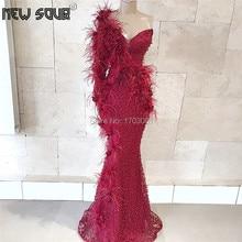 Robe De Soiree tüyleri abiye bordo boncuklu Dubai parti abiye arapça 2019 resmi elbise Kaftan bir omuz balo elbisesi