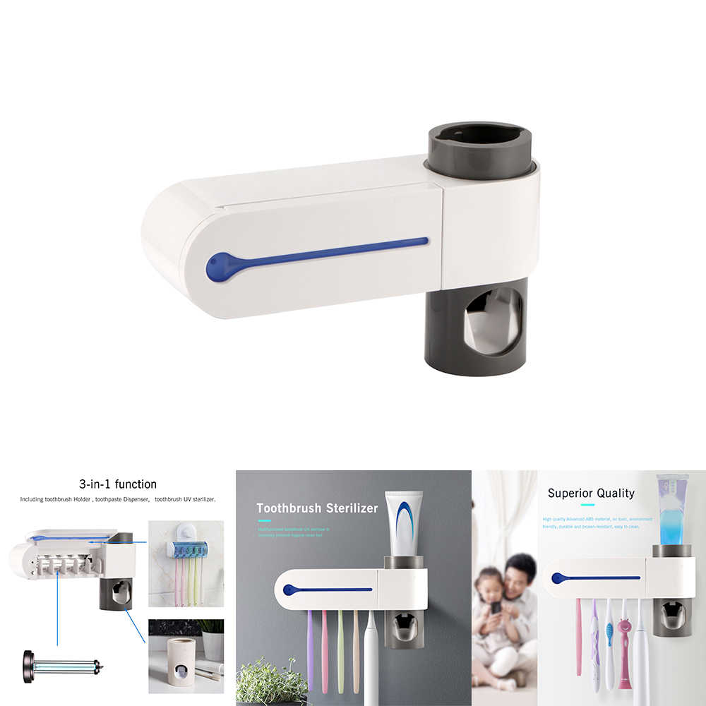 ABEDOE 2 в 1 УФ стерилизатор зубных щеток держатель зубной щетки автоматический комплект для зубной пасты диспенсер Домашний набор для ванной комнаты