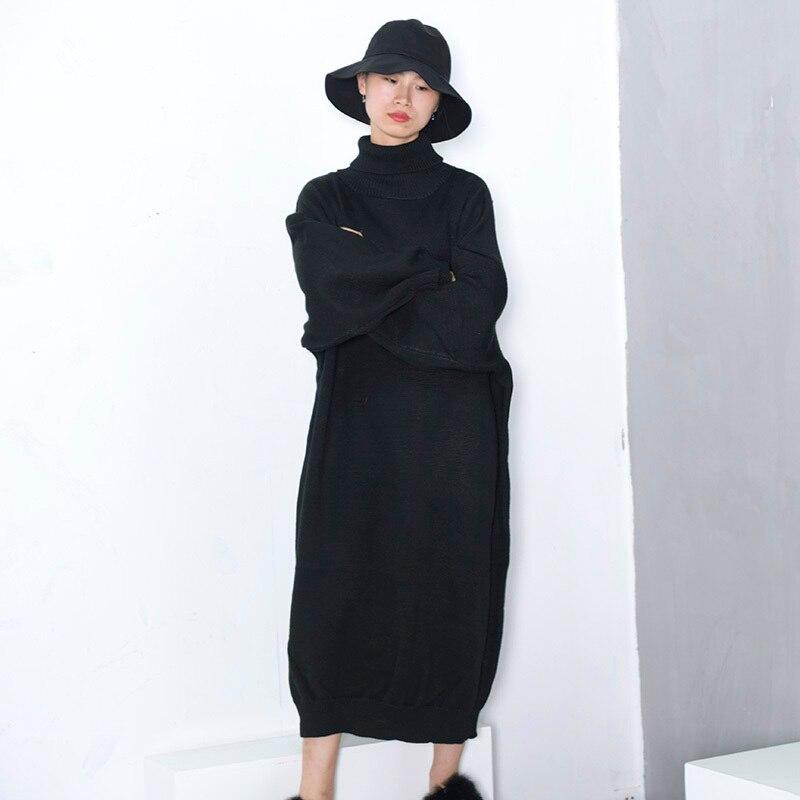 Femmes Taille J997 Solide Haut Lâche Grande De Nouveau Sweat Mode Épaississement Printemps Hiver Noir Tricoté Col Black eam2019 Marée Colid 7f6ybg