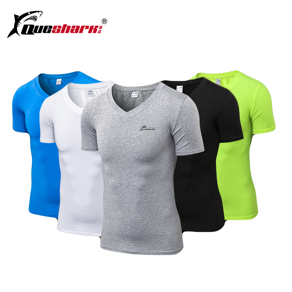 Queshark Mens Compression Jogging Sports Short V Neck t shirt Gym Fitness Workout Tights Shirt Tank Top Quick DryQueshark Mens Compression Jogging Sports Short V Neck t shirt Gym Fitness Workout Tights Shirt Tank Top Quick Dry