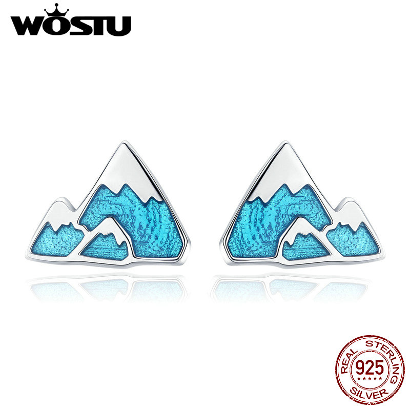 WOSTU Hot Fashion 925 Sterling Silver Iceberg Mountain Stud Earrings For Women Girlfriend Unique Original Jewelry Gift CQE475