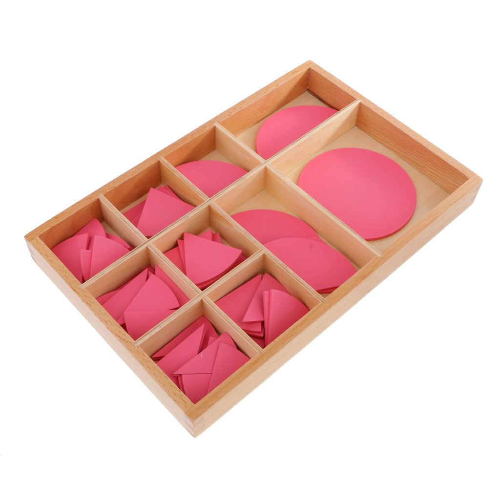 Matériel en bois Montessori rose cercle éducatif mathématiques préscolaire Fraction jouet pour enfants
