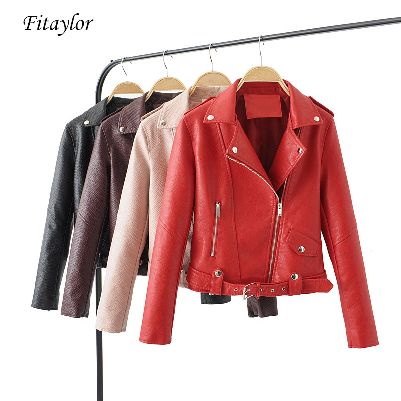 Fitaylor Spring Autumn Faux   Leather   Jacket Women Short Coats Pu Motorcycle Zipper Rivet Red Jacket Female Black Pink Outerwear
