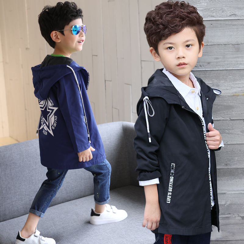 Kids clothes 2019 new long paragraph letters spring and autumn models hooded long sleeved windbreaker Children 39 s clothing in Trench from Mother amp Kids