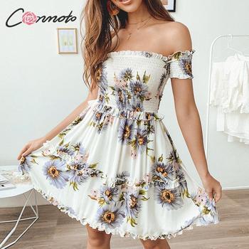 4988106e7130 Conmoto girasol estampado playa verano Vestido Mujer Twist fuera del ...