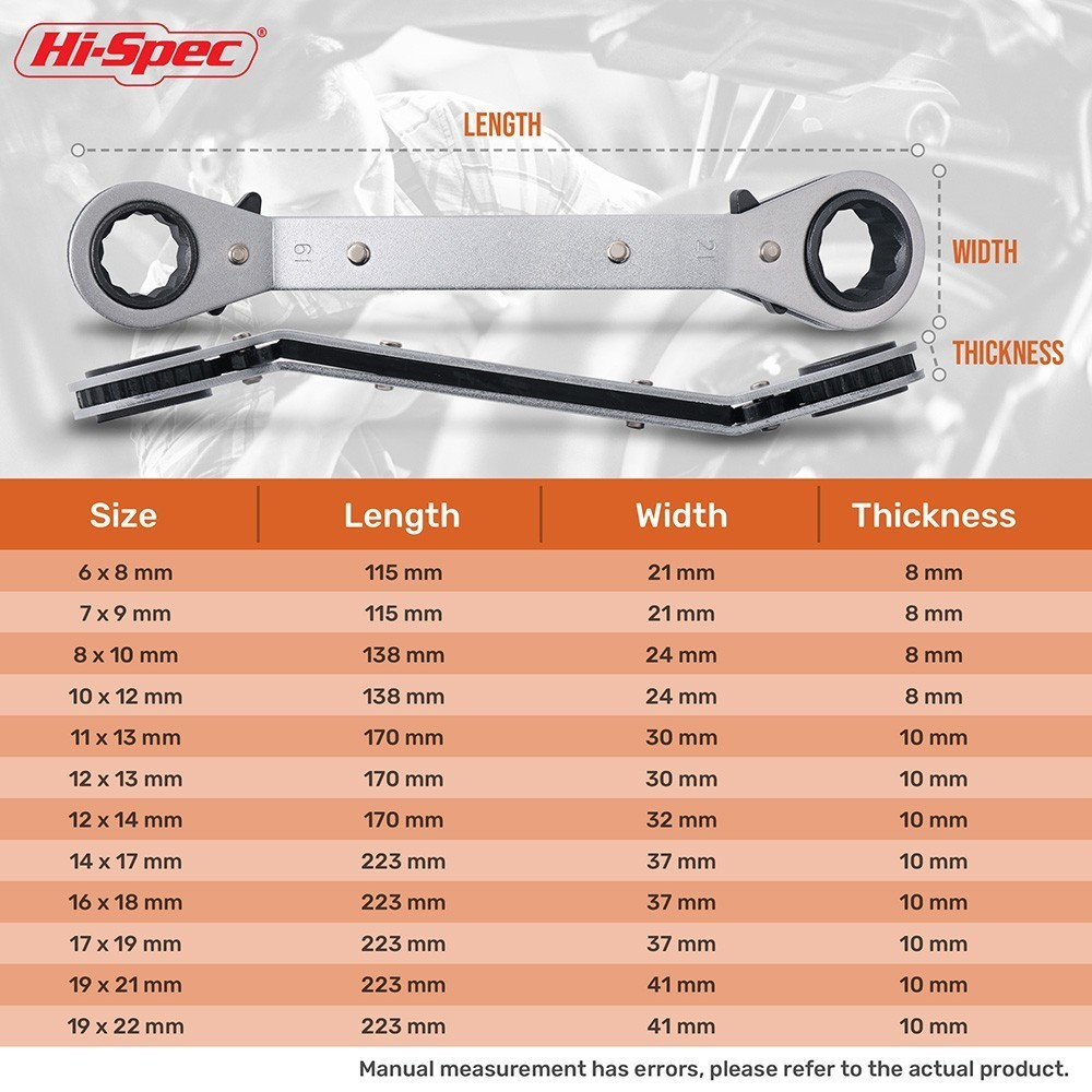 Hi-Spec 8pc 6-22mm Ratchet Wrench Torque Offset Ring Bend Neck Double Box End Wrench Universal Torque Wrench Spanner Hand Tools