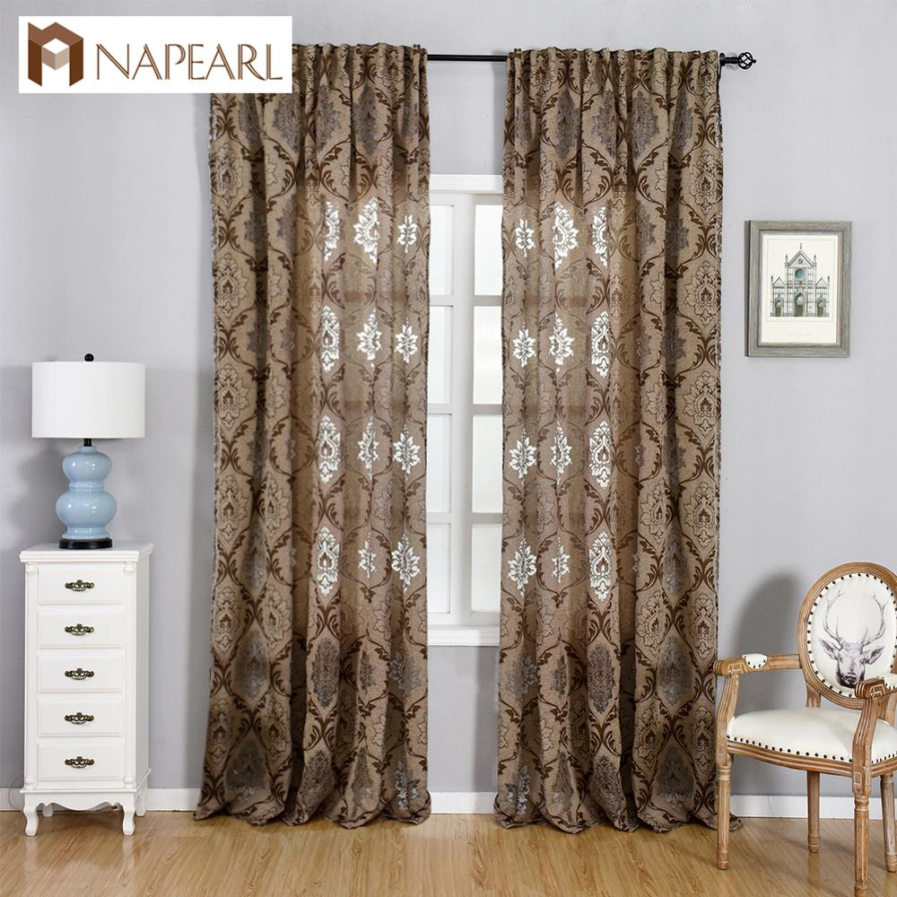 NAPEARL Window Panel Screening Floral Jacquard Semi-shades Curtains Free Shipping Brown for Bedroom Natural Ready Made Fabrics window valance
