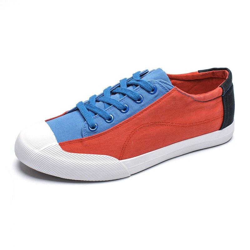 Man Classic Breathable Canvas Shoes Mens Trainers Casual Flats 2018 Male Lace Up Patchwork Espadrilles Men Adults Leisure Shoe