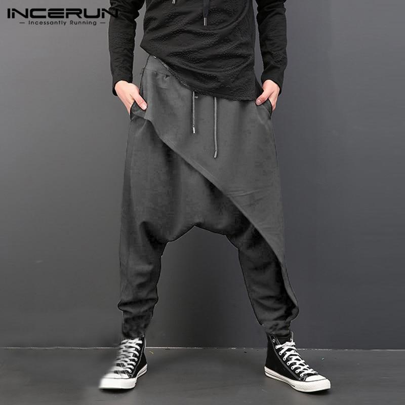 GRMO Men Linen Casual Chinese Style Plain Elastic Waist Harem Long Pants