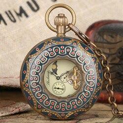 Exquisite Retro Halb Hunter Mechanische Taschenuhr Luxus Reinem Kupfer Anhänger Uhr Einzigartige Römische Ziffern Display Luxus Geschenke