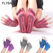 Professional Yoga Socks Women Anti-slip Five Finger Toe Meia Pilates Massage Sokken Athletic Sport Woman With Gloves