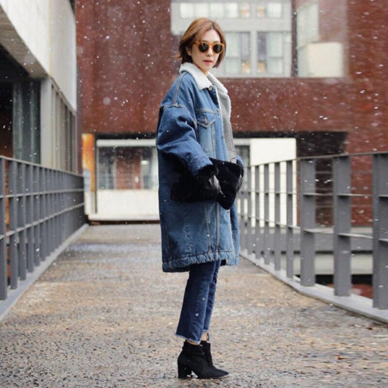Top Fur Ladies Blue Warm Women Lamb Coat Vintage Hair Winter Thickened Jean Long Faux Denim Loose Coats Clothes Fleece Outwear Jacket nqgn6TUzA