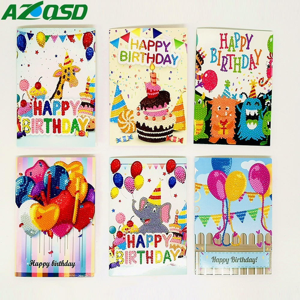 Us 12 18 30 Off Azqsd Happy Birthday Greeting Cards Diamond Painting Diamond Embroidery Children S Handmade Diy Birthday Greetings Card Gift In