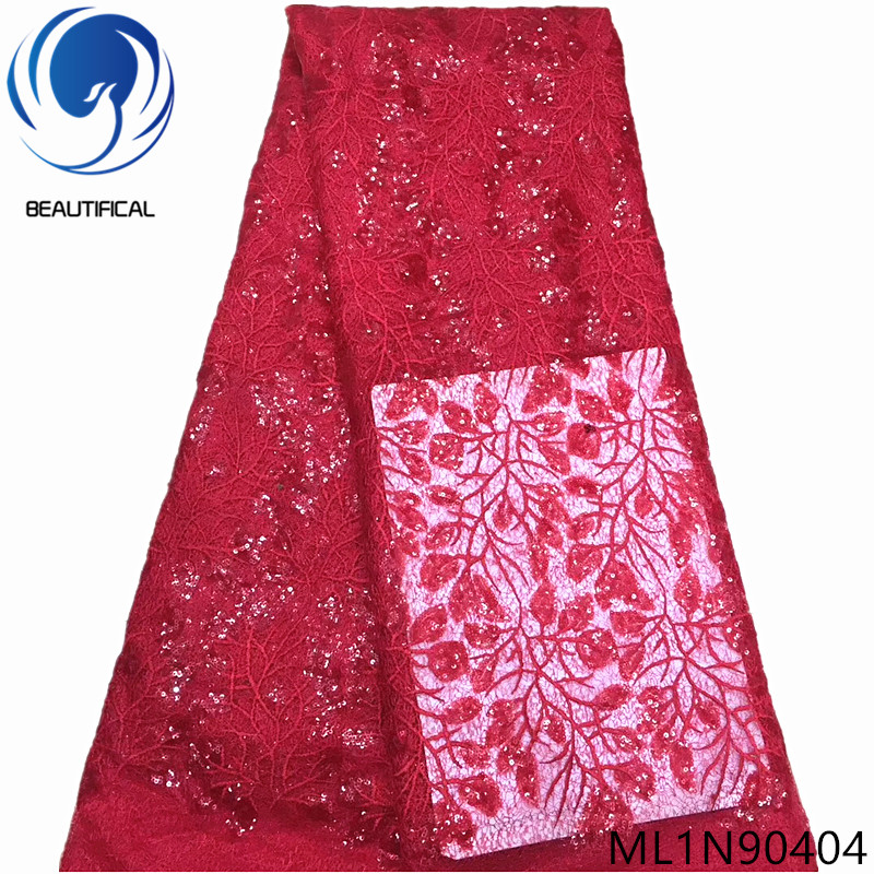 Beautifical african lace fabrics lot sequins net lace french 5yards/lot 2019 Top sale nigerian women fabrics for dress ML1N904Beautifical african lace fabrics lot sequins net lace french 5yards/lot 2019 Top sale nigerian women fabrics for dress ML1N904