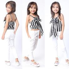 Baby Girls Clothing Sets Kids Girls Summer Personality Black White Striped Sleeveless Bow Shirt and White Pants Two Piece Suits girls clothing sets for girls summer sleeveless striped tops