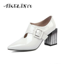 AIKELINYU 2019 Women Genuine Leather Pointy Pumps Spring Autumn Ladies Party Stripe Heels Shoes Buckle Strap Black Color High He