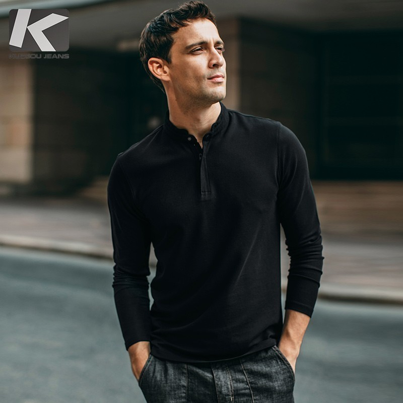 Autumn Men   Polo   Shirt Cotton Solid Black Color Button For Man Fashion Long Sleeve Slim Fit Clothes 2018 New Male Wear Tops 280