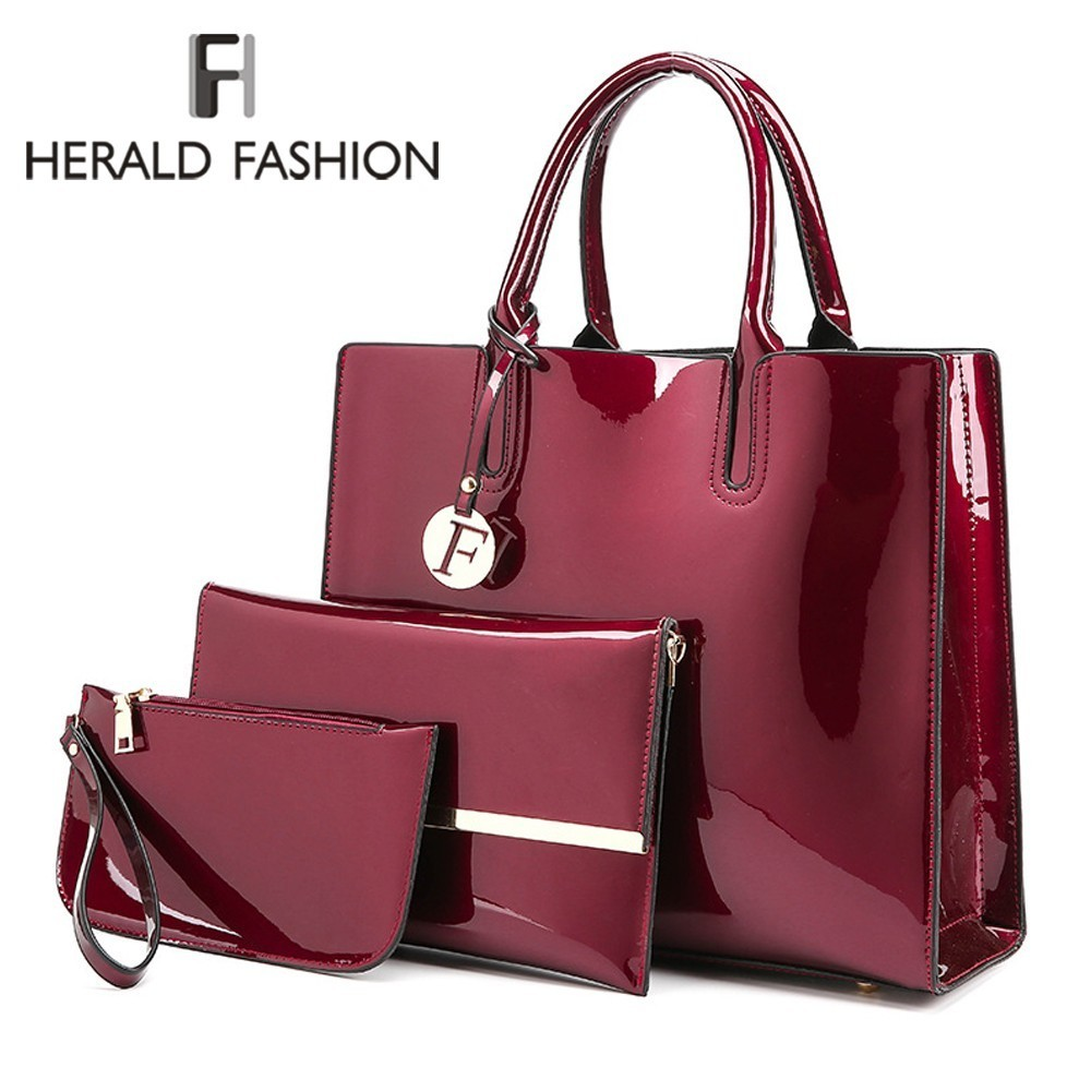Herald Fashion Bright Solid Patent Leather Women Bags Ladies Simple Luxury 3 Sets Handbags Casual Female Shoulder Messenger Bags