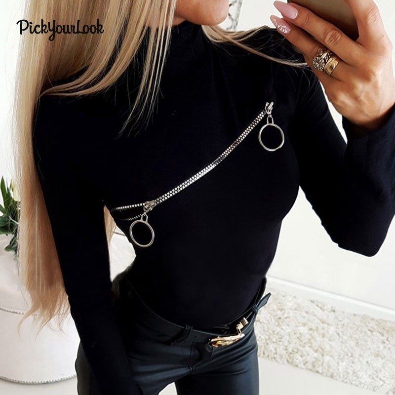 Pickyourlook Women Tshirt And Tops Long Sleeve Zipper Sexy Female Tee Shirt Solid Black Stand Collar Ladies T-Shirt Autumn