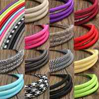 New 5M 2 Cord 0.75cm Colorful Vintage Retro Twist Braided Fabric Light Cloth Cable Electric Wire Chandelier Pendant Lamp Wires