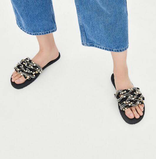 Moraima Snc Crystal Embellished Rope Beaded Flat Shoes Woman Open Toe Summer Slippers Comfortable Ladies SandalMoraima Snc Crystal Embellished Rope Beaded Flat Shoes Woman Open Toe Summer Slippers Comfortable Ladies Sandal