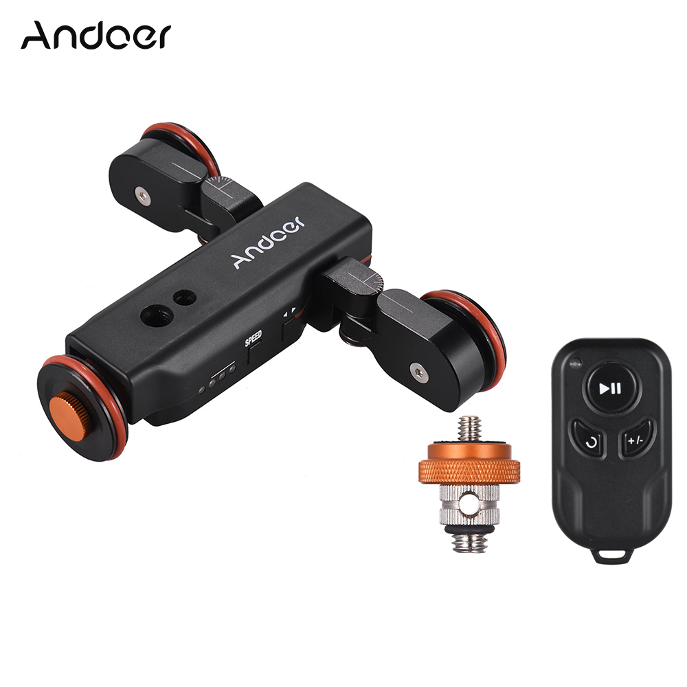 Andoer L4PRO Motorized Camera Video Dolly with Scale Indication Electric Track Slider Wireless Remote Control Mini