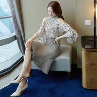 2019 Новый женский летний комплект из двух предметов с пуговицами, украшение, короткий рукав, до колена, свежий милый полосатый Повседневный м