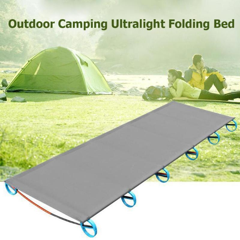 Ultralight Folding Bed Outdoor Camping Mat Portable Travel Hiking Climbing Cot Sturdy Comfortable Sleeping Bed Aluminum