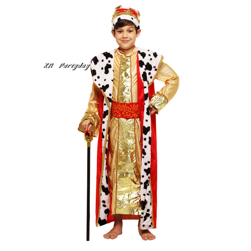 Red Boys Arab Prince Cosplay Children Crown King Role Play Carnival Party Supplies halloween costume for kids Christmas Purim