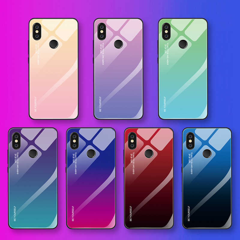 Gradient Tempered Glass Back Case For Xiaomi MiA1 A2 Max3 Mix3 Colorful Luxury Cover Shell for Redmi 5 5plus 6 6A note5 6Pro