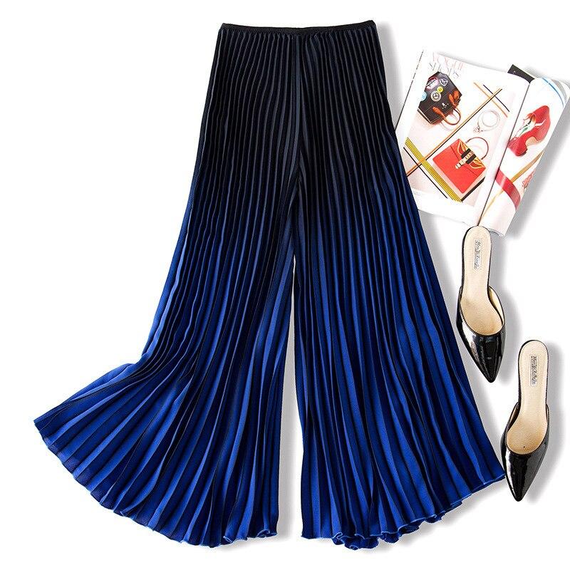 Kadın Giyim'ten Pantalonlar ve Kapriler'de LANMREM 2019 Ilkbahar Yaz Yeni Desen Moda Degrade Renk Pilili Pantolon Kadınlar Için Gevşek Tüm Maç Geniş Bacak Pantolon YH429'da  Grup 2