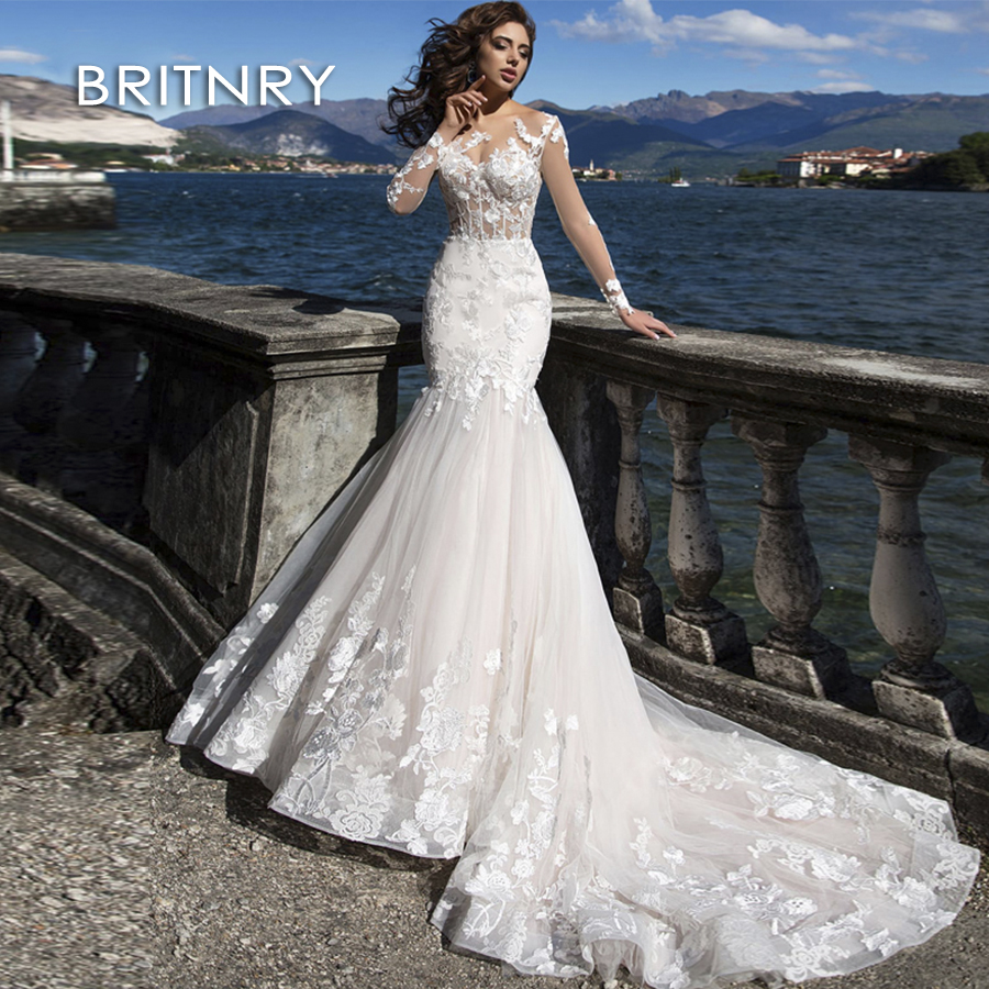 BRITNRY New Style Luxury Mermaid Wedding Dress White Long