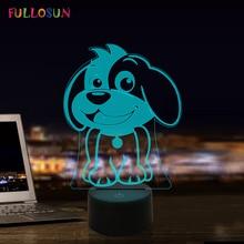 LED Dog Lamp 7 Colors 3D Illusion Night Light Creative Birthday Gift Nightlight