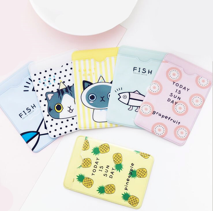 1pc Pvc Cute Business Card Holder Case Wallet Card Holder Women Men Student Bus Card Gift Office Supplies Diversified In Packaging