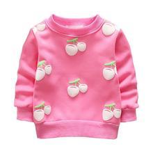 Новинка года; качественные детские свитера из хлопка для малышей; Милая футболка с длинными рукавами и круглым вырезом; мягкие теплые толстовки с вишенками
